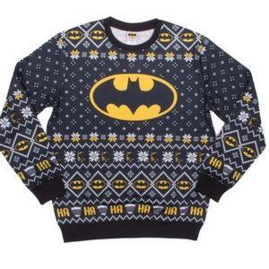 DC Batman black white yellow Christmas long sleeve crew neck sweatshirt Size L